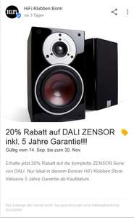 [Lokal Bonn] 20% auf die gesamte Dali Zensor Reihe inkl. 5 Jahre Garantie bei Hifi-Klubben Bonn