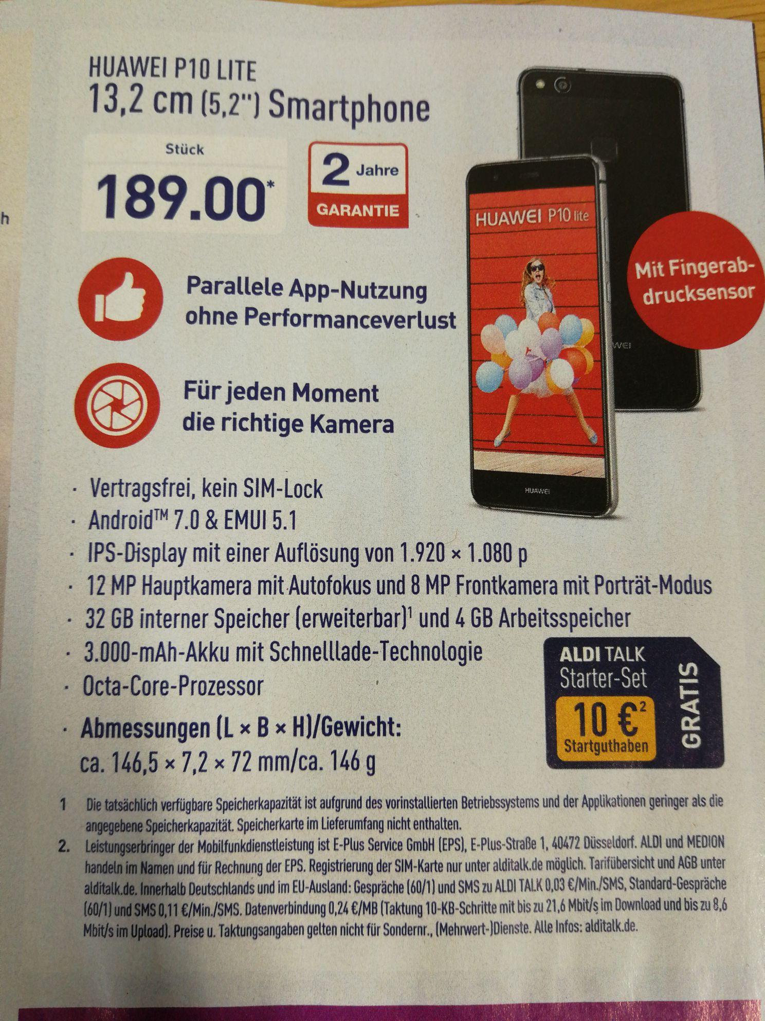 Huawei P10 Lite 4/32 GB bei Aldi Nord
