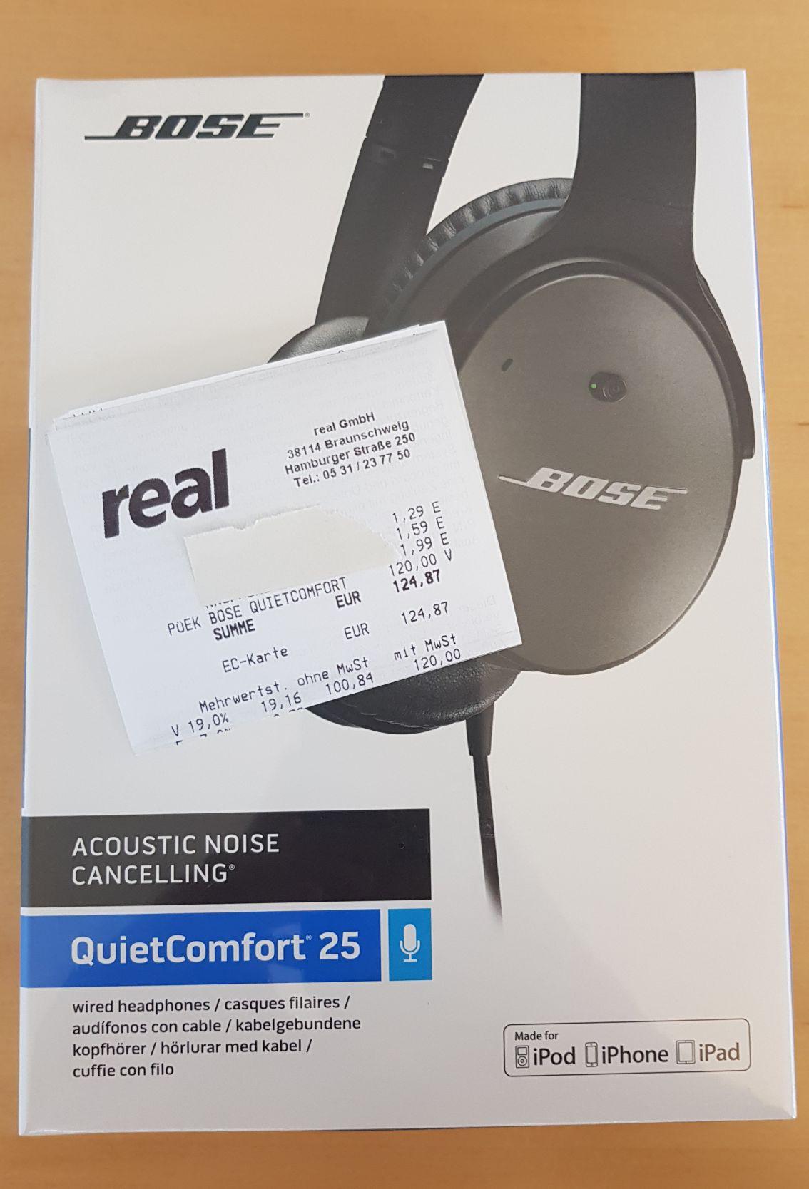 BOSE QuietComfort 25 (Apple Variante) Over Ear Kopfhörer für nur 120,-€ [real Braunschweig Hamb. Str., lokal]