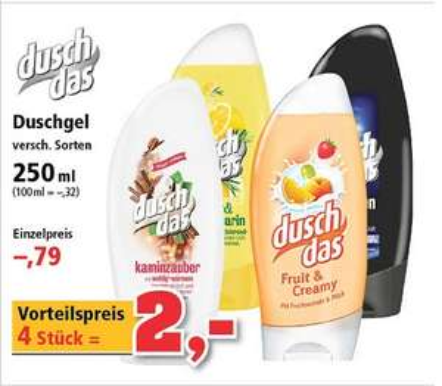 Duschdas versch. Sorten effektiv - 50 Cent Stk / 4 Stk für 2€ bei Thomas Philipps