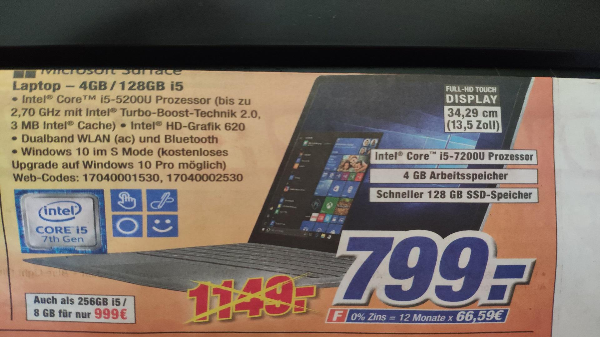 Microsoft Surface Laptop (13,5 Touch/i5-7200U/4GB RAM/128GB SSD) bei Expert Klein für 799€ !