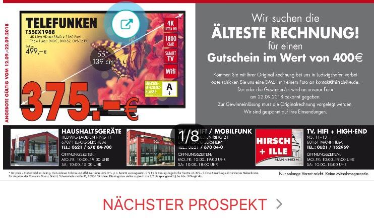 [LOKAL Ludwigshafen&Mannheim] Telefunken T55EX1988 4K Ultra HD TV für 375 €