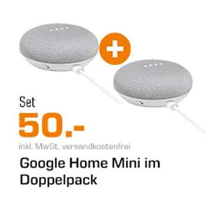 Google Home Mini Doppelpack für 50€ [Saturn]