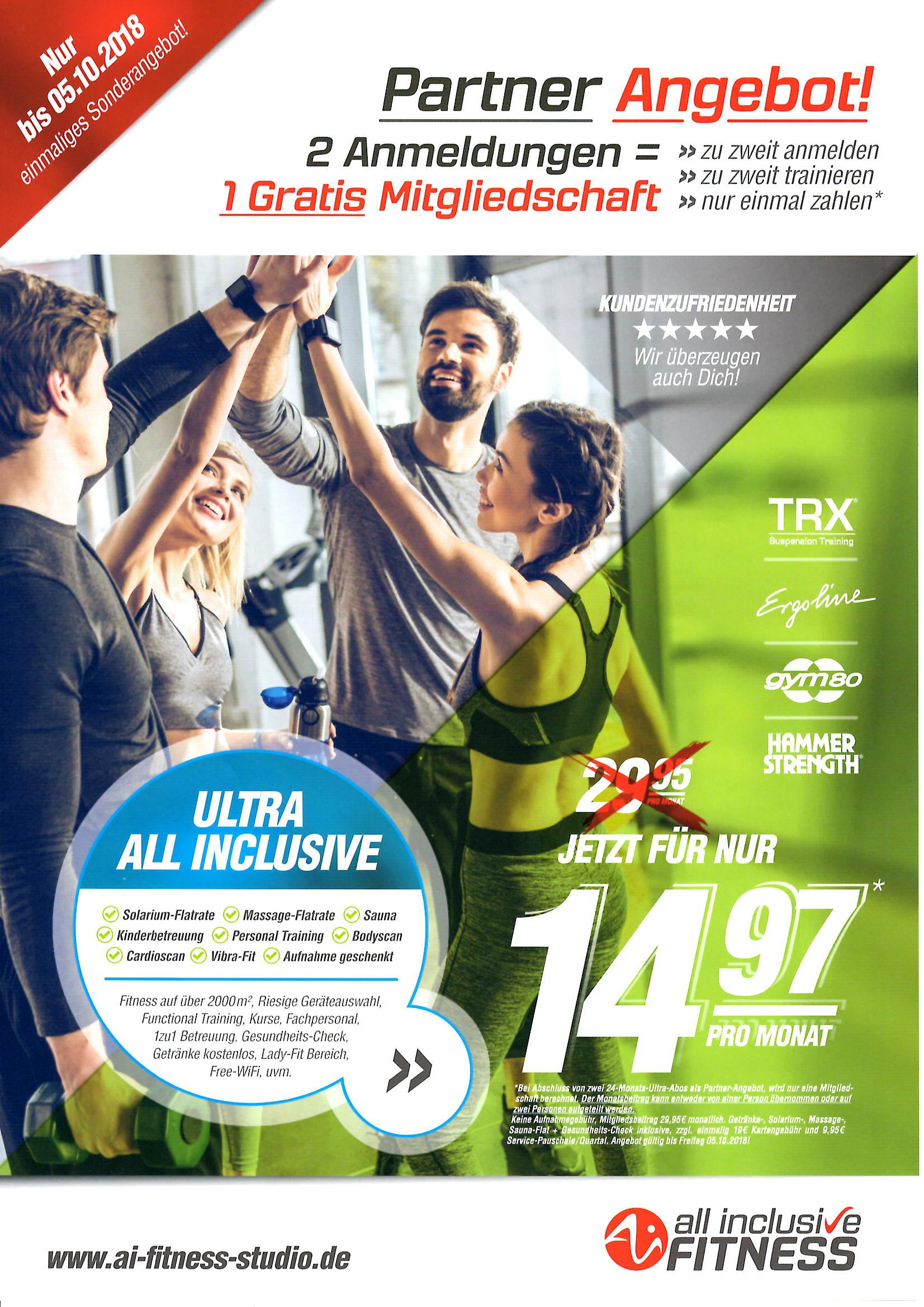[LOKAL] Dresden & Chemnitz: 2 Anmeldungen = 1 Gratis Mitgliedschaft im Fitnessstudio! Bis 05.10.2018!