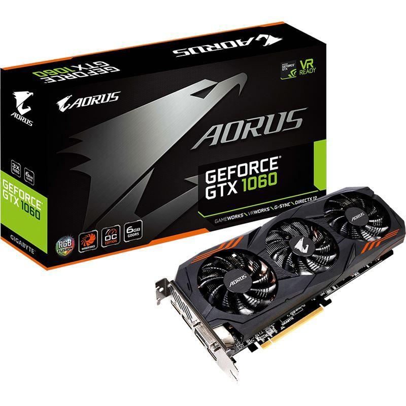 6GB Gigabyte GeForce GTX 1060 AORUS 6G Aktiv PCIe 3.0 x16 bei Mindfactory
