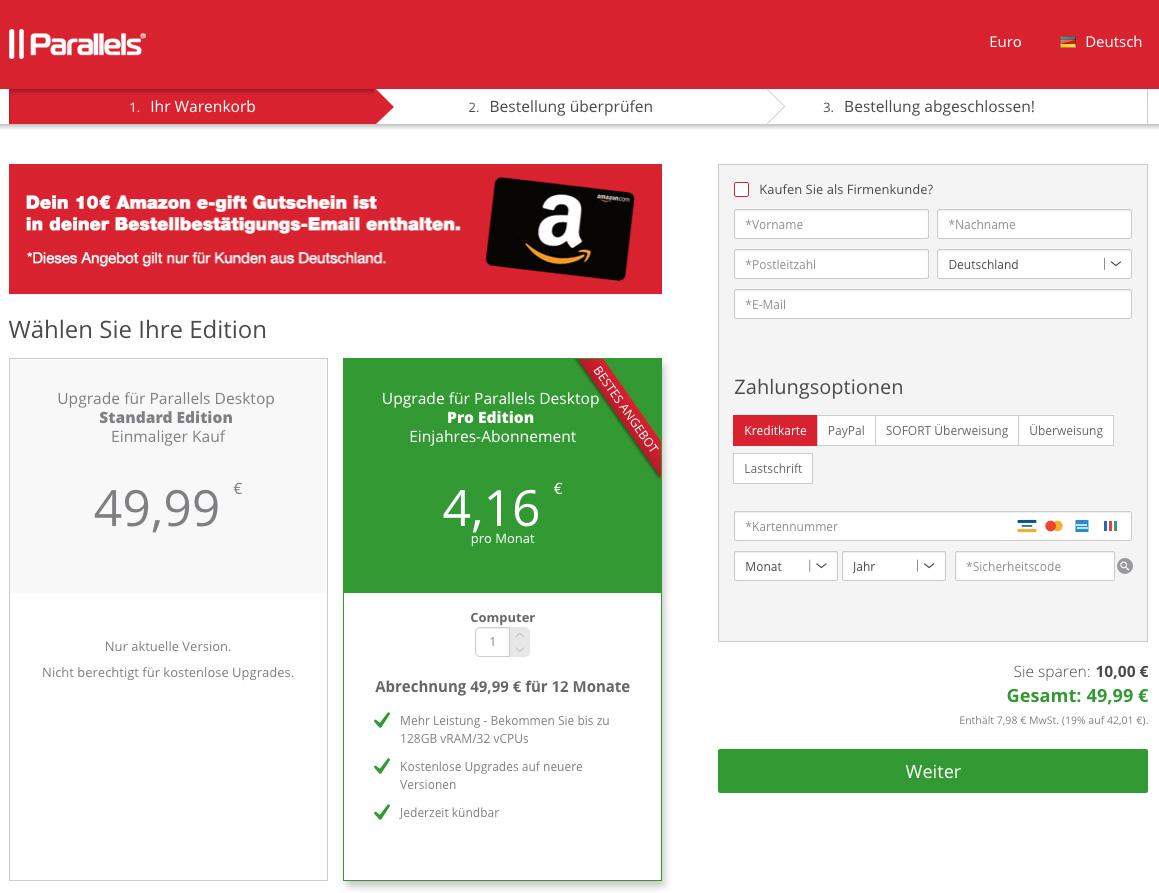 Parallels Desktop 14 Upgrade mit 10,- Amazon Gutschein