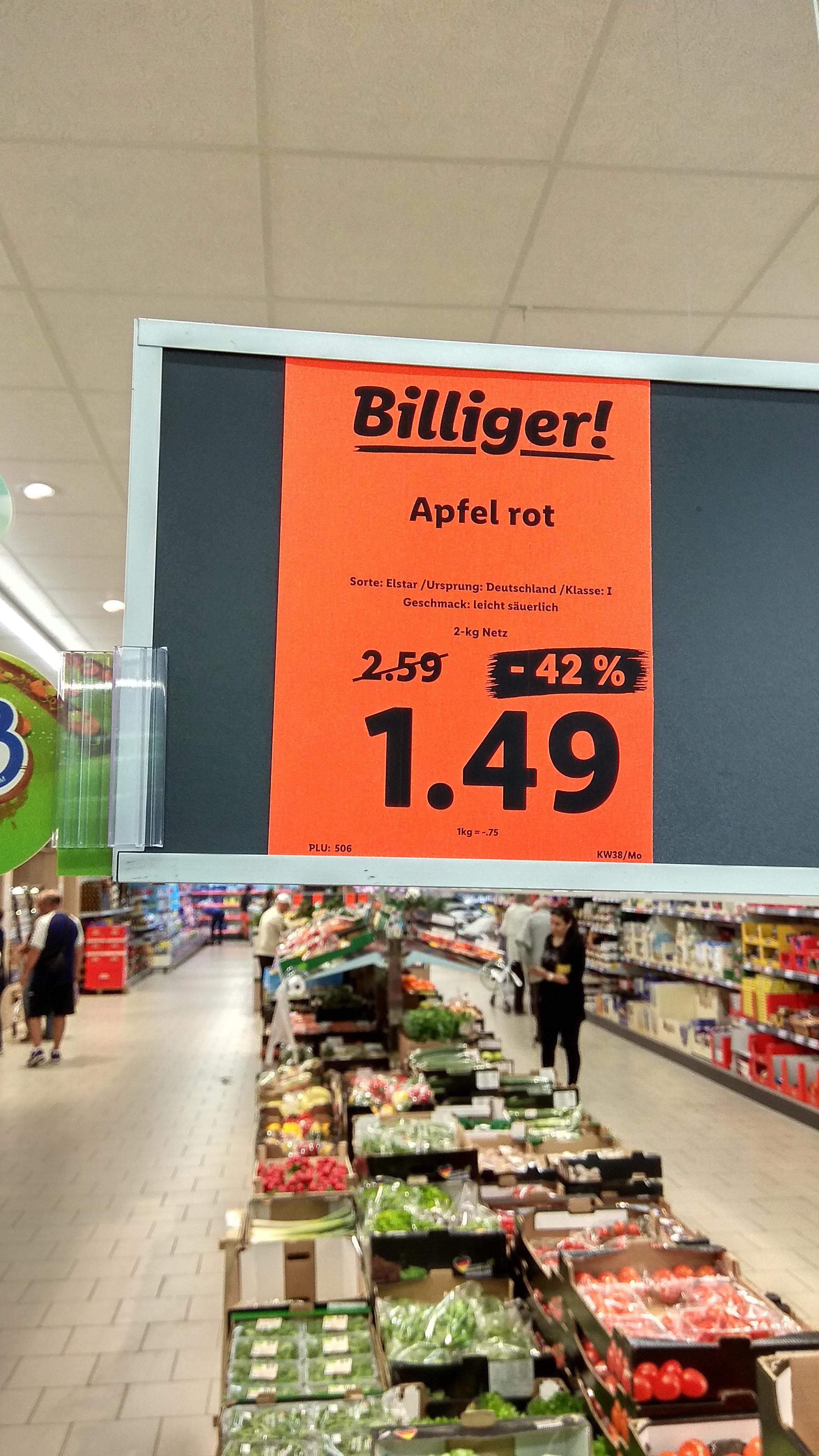 2 kg Deutsche Elstar Äpfel bei Lidl für 1,49 EUR