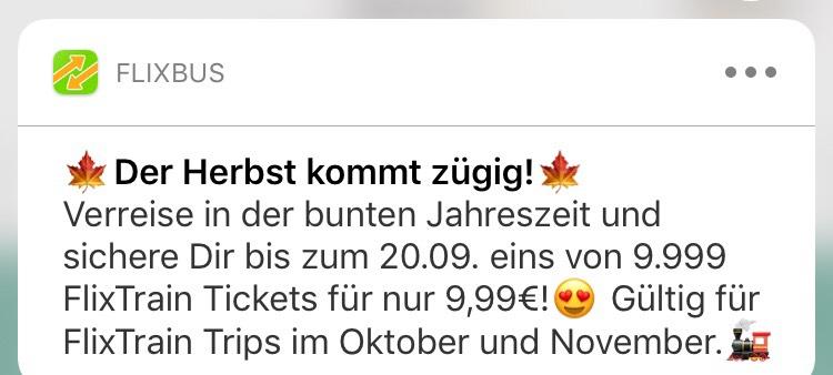 Flixtrain Tickets für 9,99€