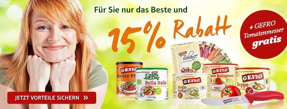 GEFRO - NEUKUNDEN - 15% Rabatt & kostenloses Tomatenmesser & versandkostenfrei ab 10 €