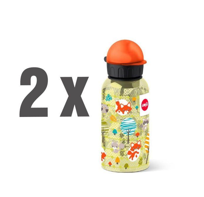 2er-Set Emsa Kids Trinkflasche (400ml, Aluminium) mit Fuchs- oder Fußball-Motiv