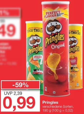 Pringles verschiedene Sorten (190 g) für 99 Cent [Jawoll]