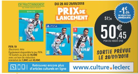 [Grenzgänger Frankreich] Fifa 19 (PS4/Xbox One) für 50,45 € bzw 43,45 € (Nintendo Switch)