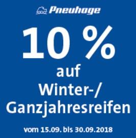 10% Rabatt auf Winter- und Ganzjahresreifen und 20% auf Reifenwechsel und Auswuchten bei Pneuhage / Firststop