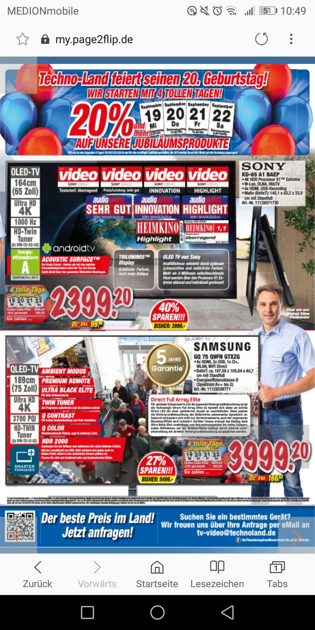 [Deizisau] Sony 65 A1 & Samsung 75 Q9FN für 3399€ / Versand möglich