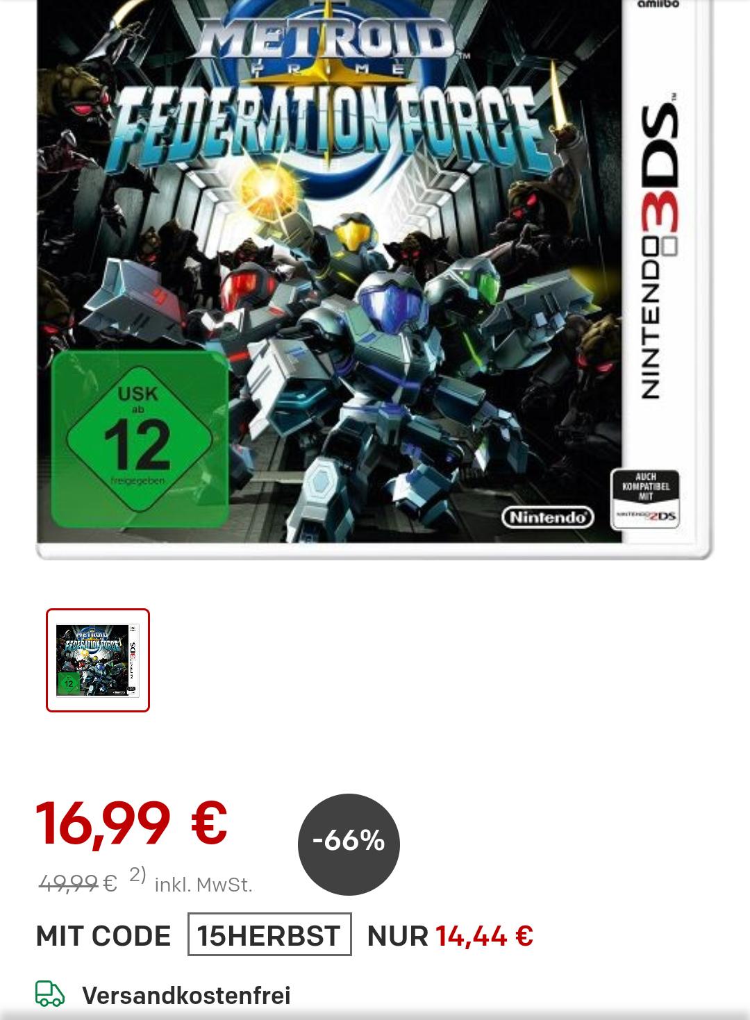Metroid Prime: Federation Force für 14,44€ bei rakuten.de
