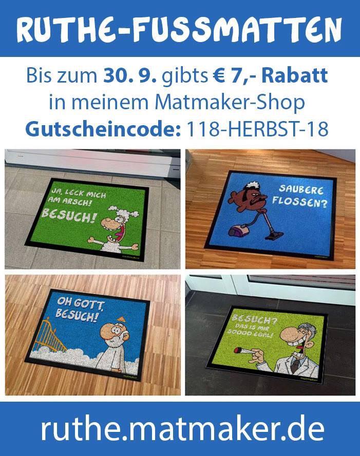7 Euro Rabatt auf alle Ralph Ruthe Teppiche - sicherlich interessant für Leute die was lustiges schenken möchten