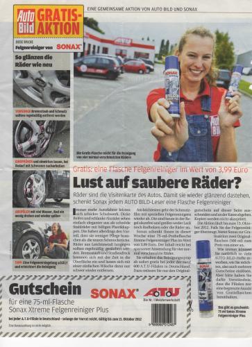 ATU: Sonax Xtreme Felgenreiniger Plus 75 ml GRATIS mit Coupon! im Wert von 3,99 Euro