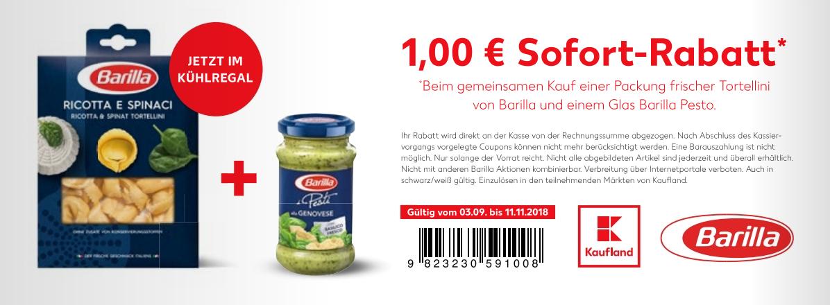[Kaufland] 1,00€ Coupon für den Kauf von Barilla Pesto + Barilla Tortellini bis 11.11.2018
