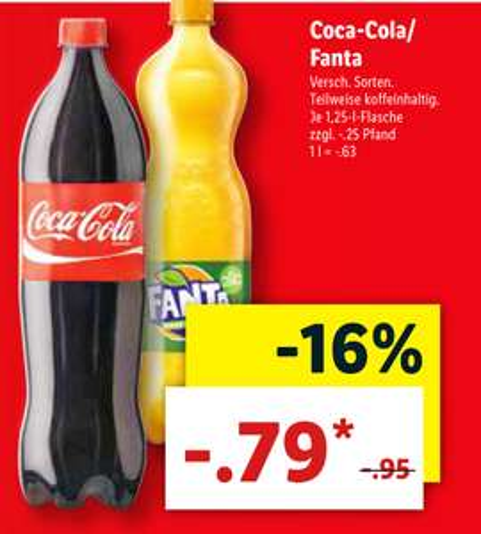 Die 1,25l Coca Cola für 79 Cent (Lidl ab 24.09.)