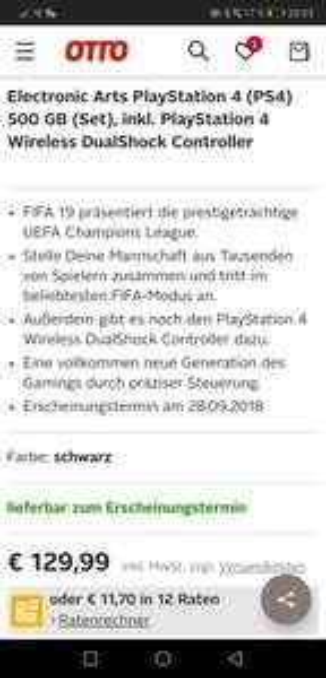 OTTO PREISFEHLER,  Dualshock + Fifa 19 für 129,99€