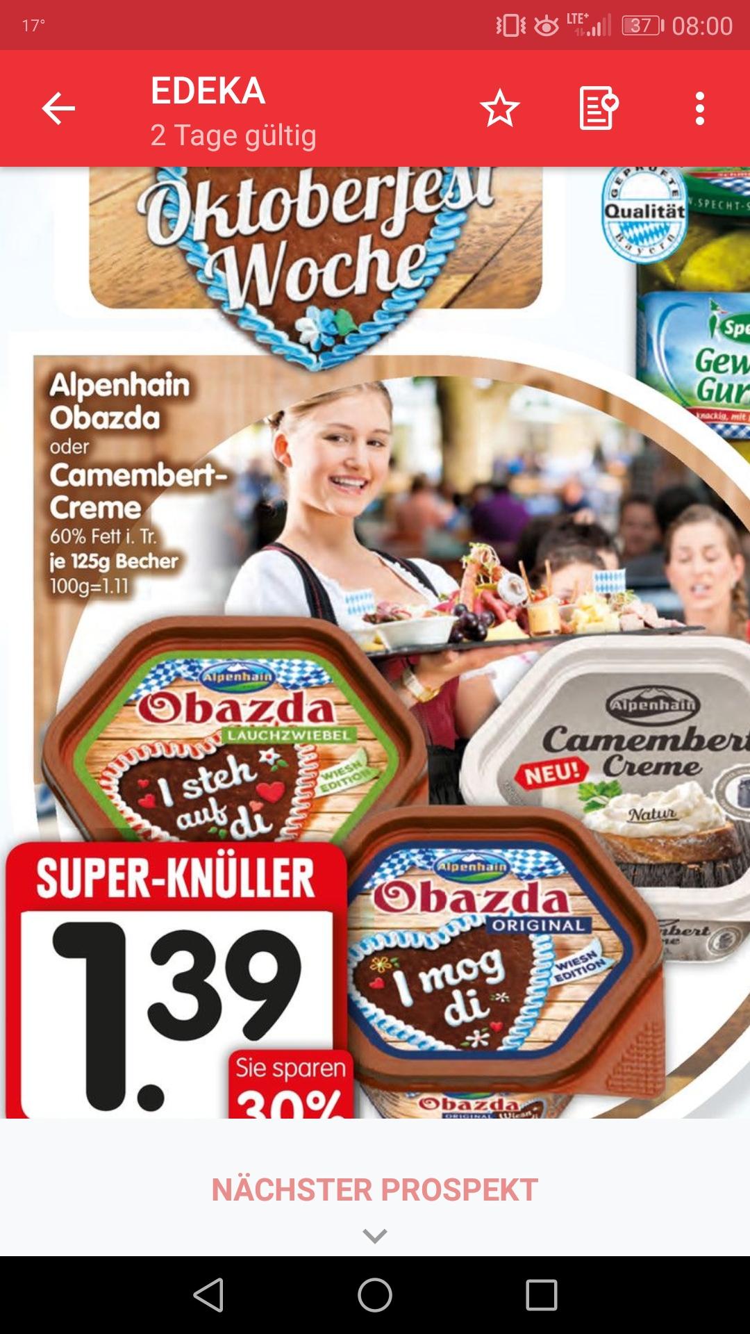 [ Edeka süd ] Alpenhain Obazda für 1,39 + 0,35€ Marktguru Cashback