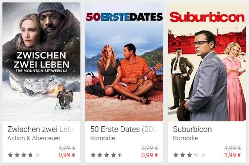 [Google Play] 50 erste Dates, Zwischen zwei Leben für je 0,99€ leihen (Suburbicon für 1,99€)