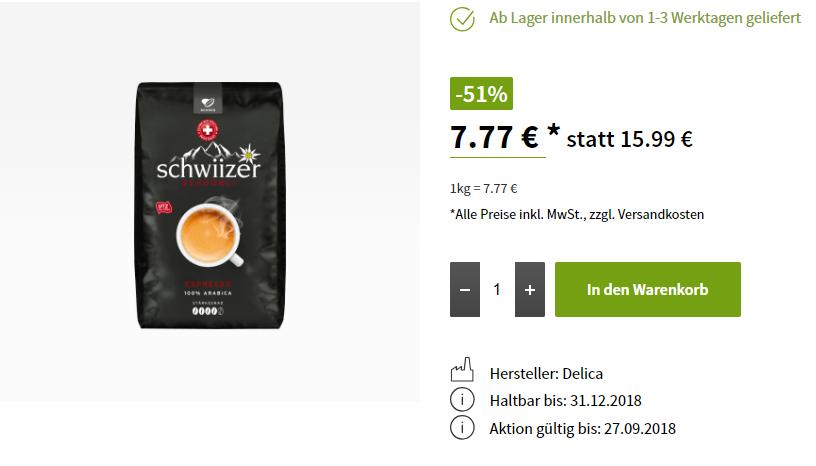 """Kaffee """"Schwiizer Schüümli Espresso"""" Bohnen 1Kg nur 7.77"""