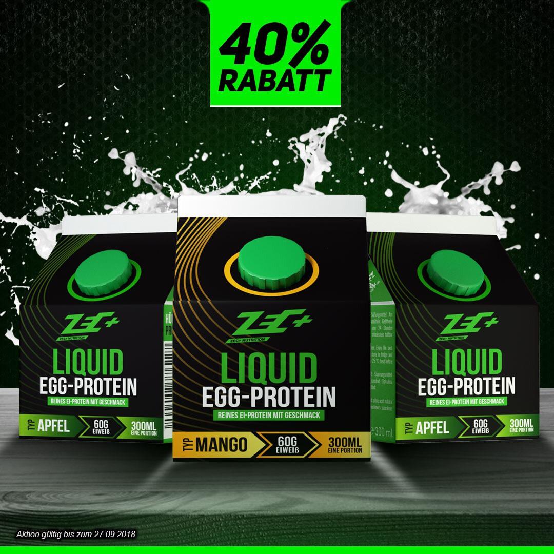 ZecPlus 55% Rabatt (gesamt) auf reines Liquid Egg Protein - 60g Eiweiß pro Packung -