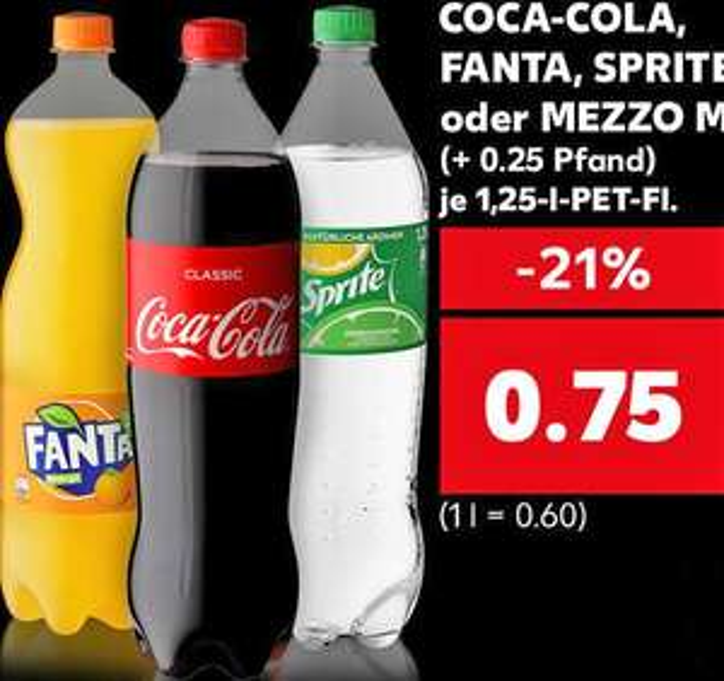 Die 1,25l Coca-Cola, Fanta, Sprite oder Mezzo Mix für nur 75 Cent (Kaufland)