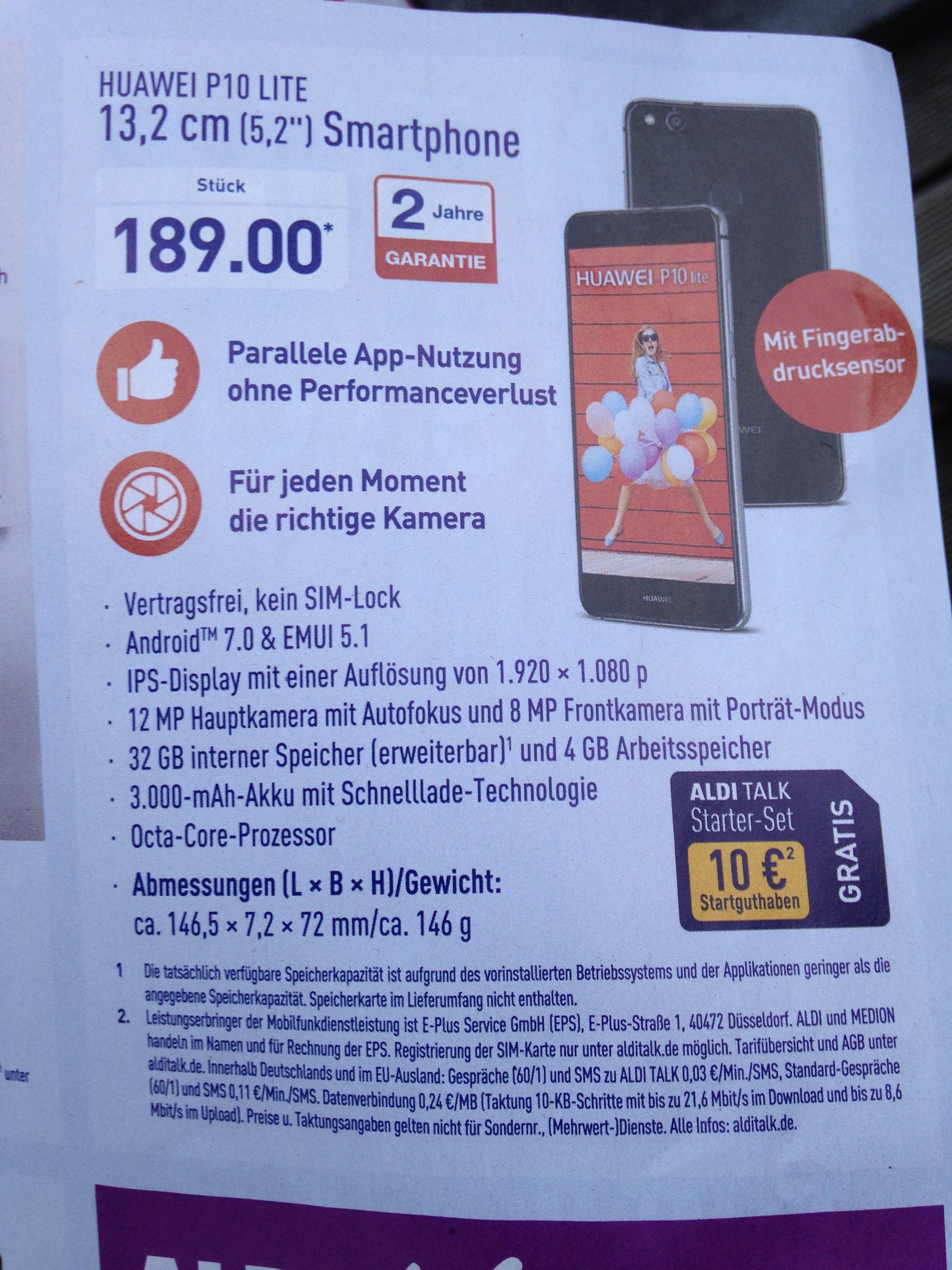 [Aldi Nord] 189,00 € Huawei P10 Lite bei Aldi (Nord)