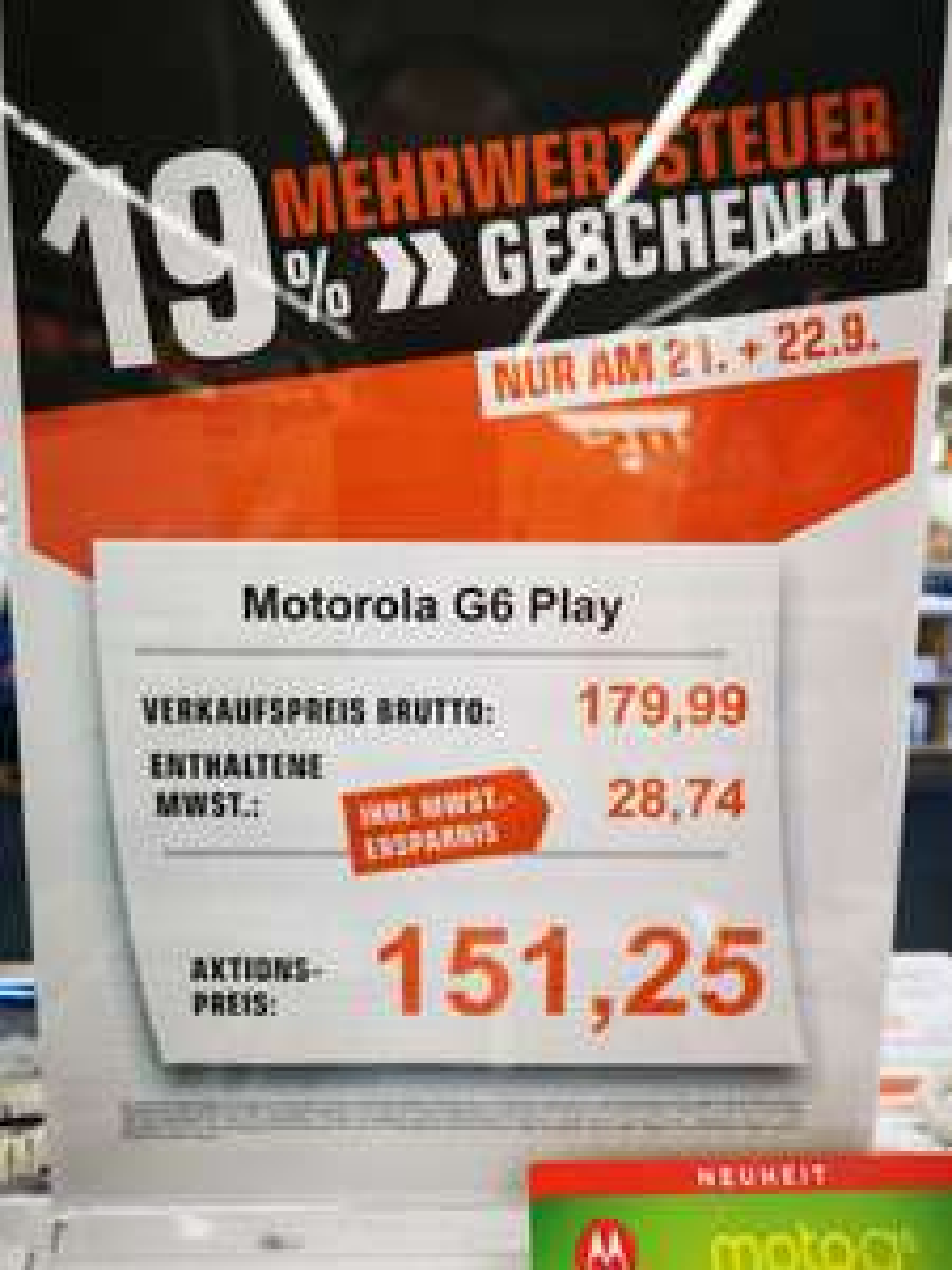 Saturn Mehrwertsteuer Deal Motorola G6 Play / Samsung S8