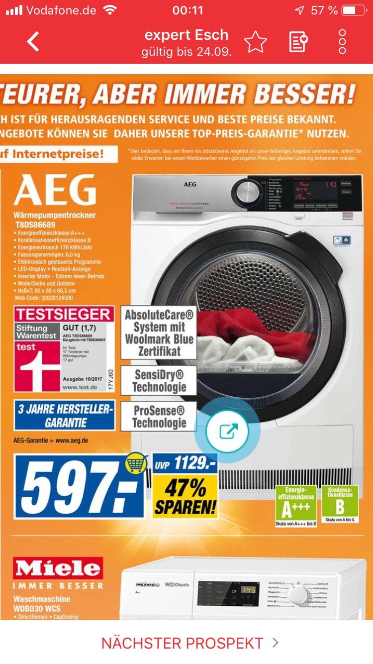 [LOKAL MANNHEIM] AEG T 8DS 86689 Wärmepumpentrockner 8 kg A+++ für 597 € im Expert Esch