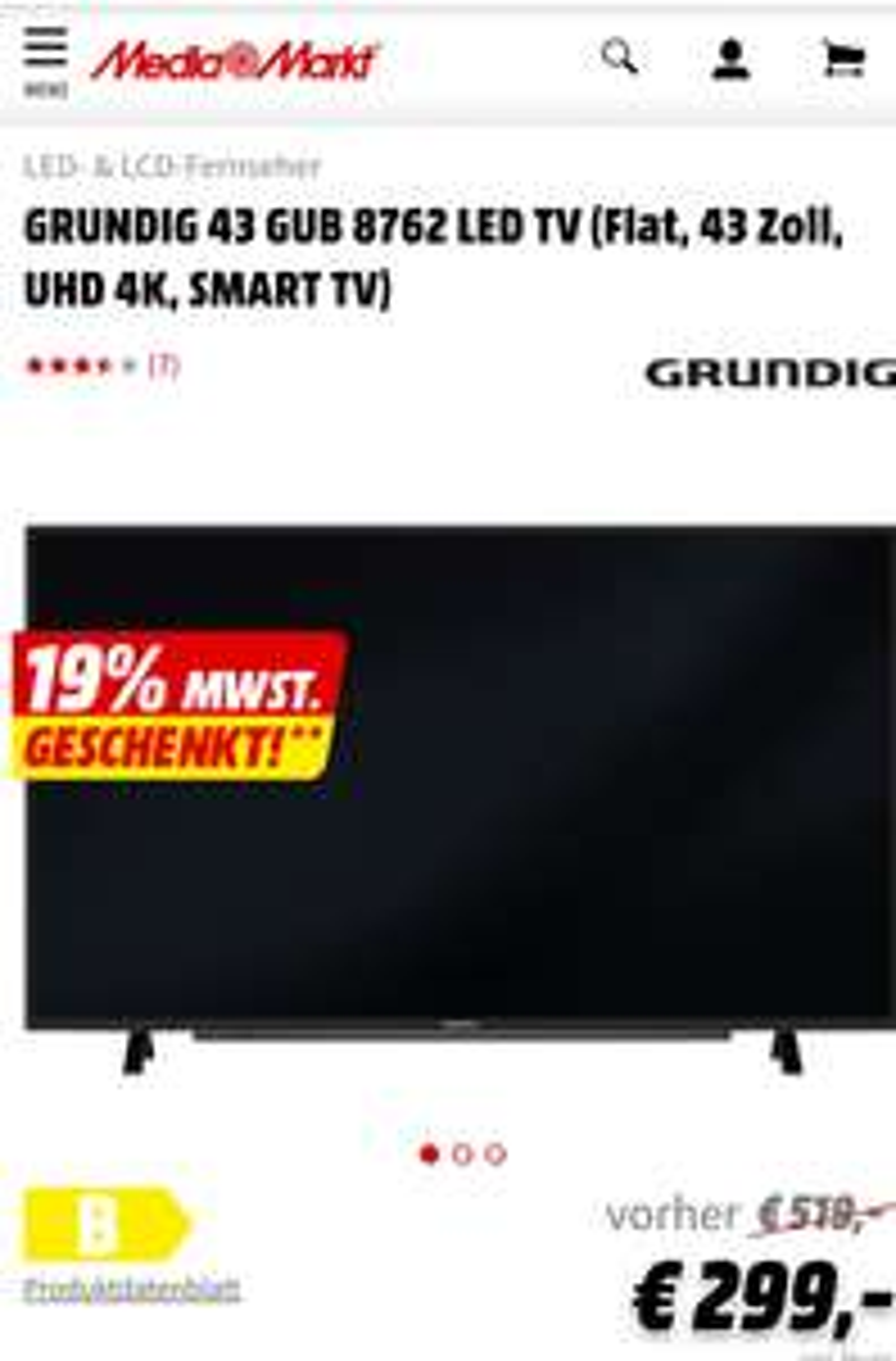 GRUNDIG 43 GUB 8762 LED TV (Flat, 43 Zoll, UHD 4K, SMART TV) für 251€