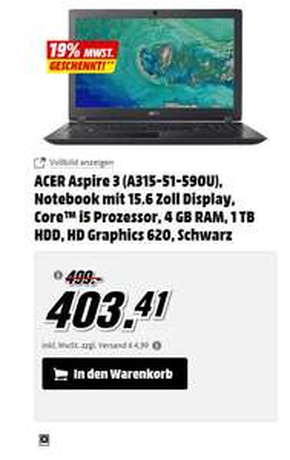 ACER Aspire 3 (A315-51-590U), Notebook 15.6 Zoll,  i5-7200U, 4 GB RAM, 1 TB HDD, HD Graphics 620 [Media Markt] 339€ + 4,99 VSK