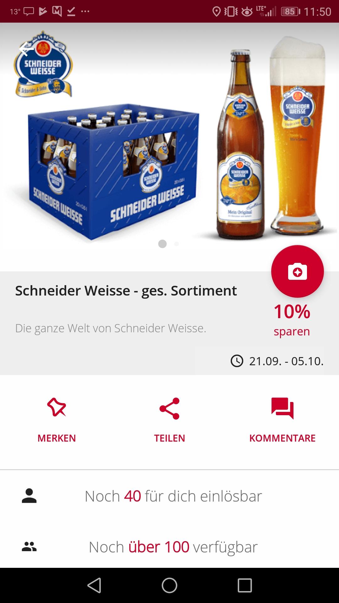 [ orterer getränkemärkte Bayern] 20x 0,5l Kiste Schneider Weisse für 13.99€+1,40€ scondoo Cashback