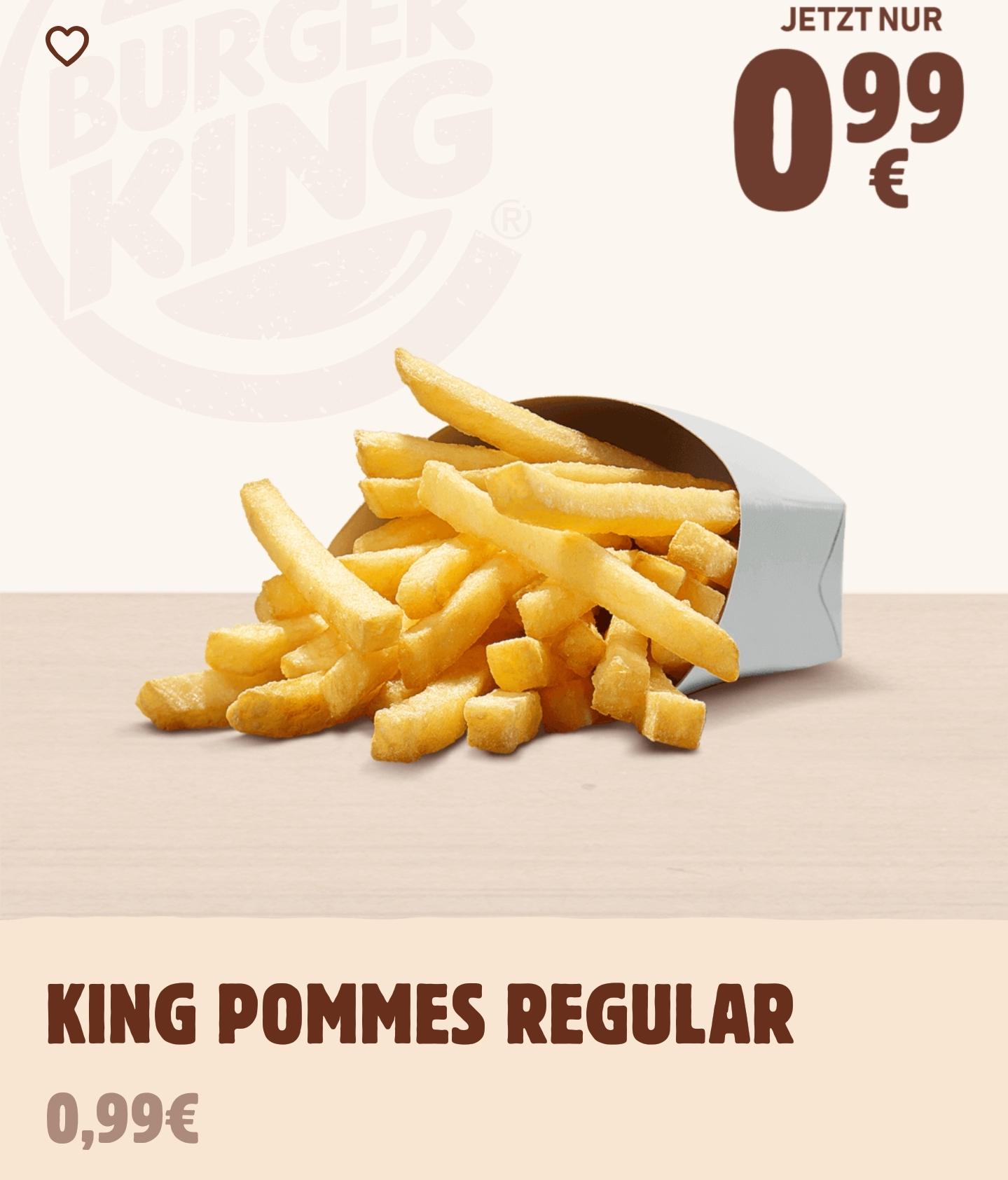 [Burger King] Pommes Regular (mittlere Portion) oder 6 Onion Rings für 0,99€