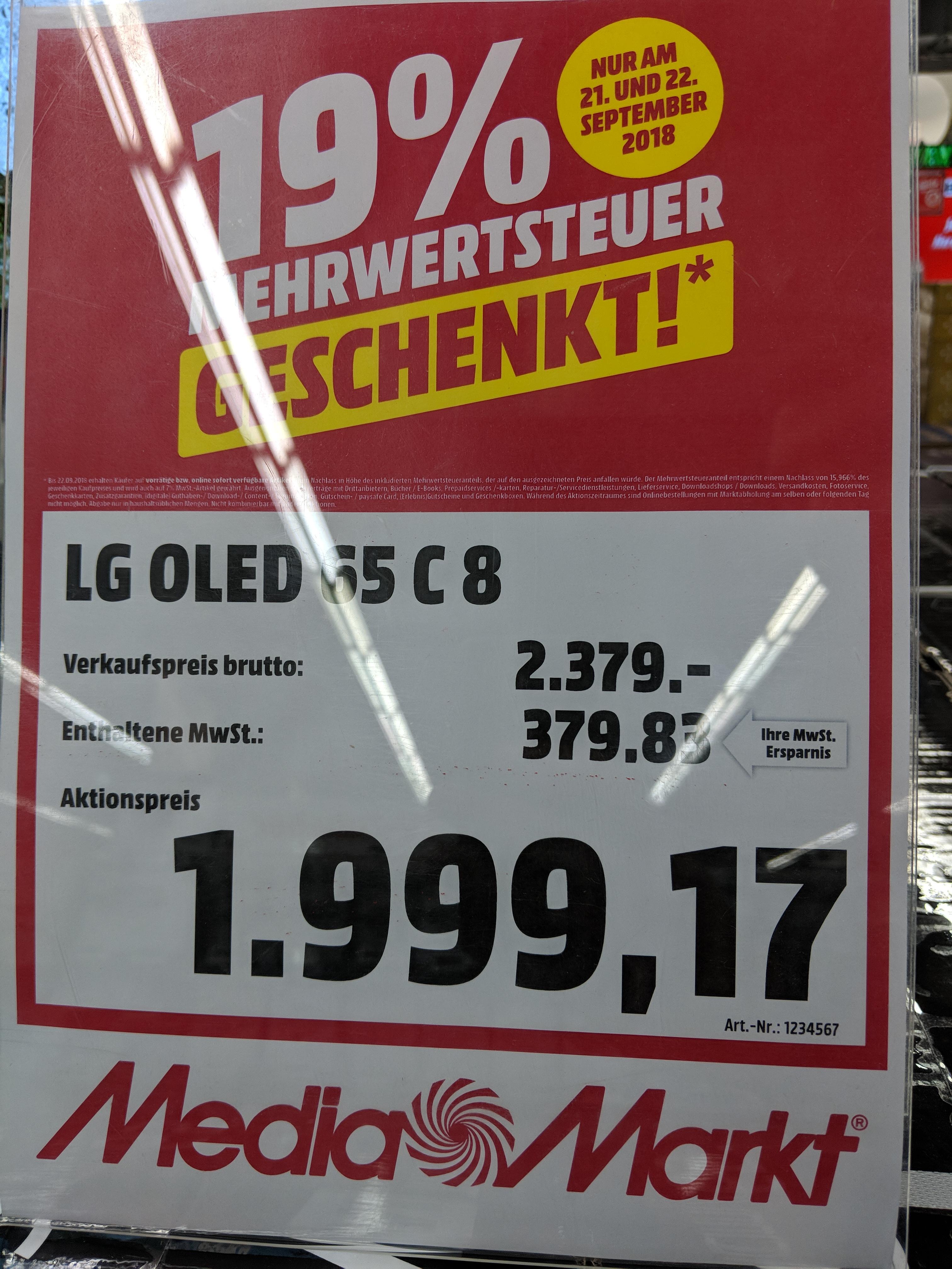 OLED TV LG 65 C8 dank 19% MwSt neuer BESTPREIS [Lokal MM Köln Kalk] 65C8