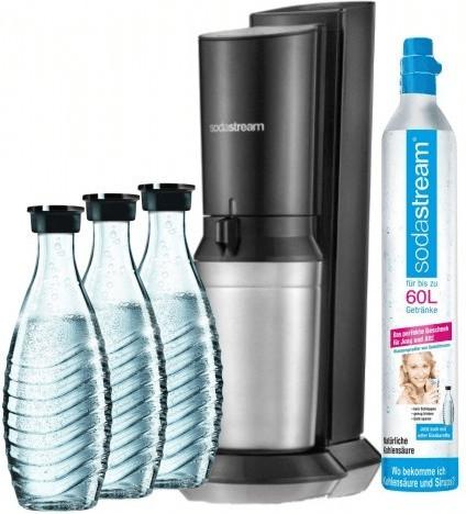 Wassersprudler SodaStream Crystal 2.0 titan im Bundle (insgesamt 3 Glaskaraffen & 1 Zylinder)