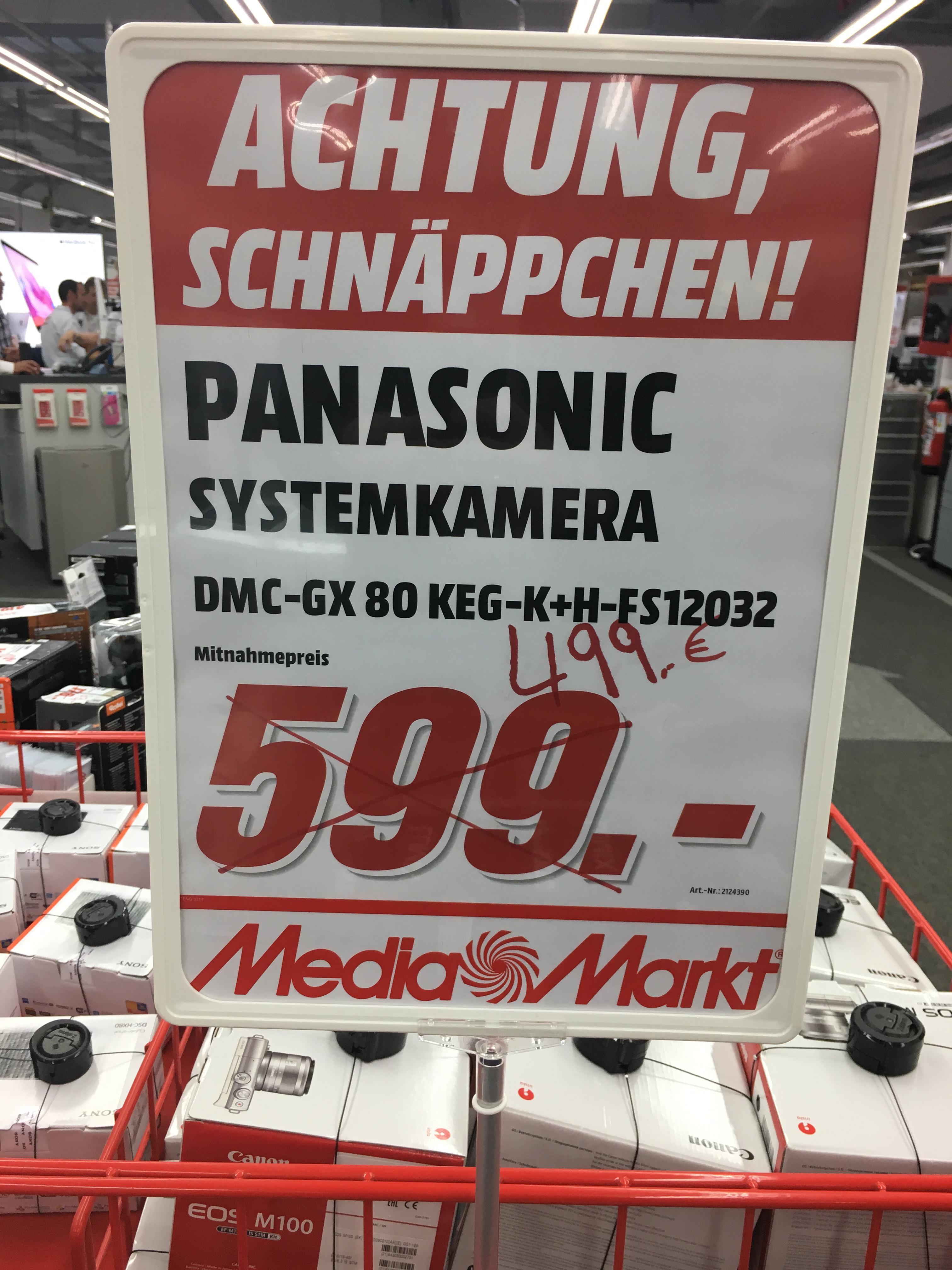 [lokal/versand] Panasonic GX80 + 12-32mm + Tasche + 16 GB Karte MediaMarkt Wiesbaden Äppelallee