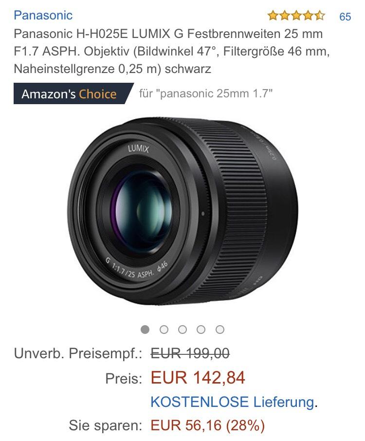 Panasonic G 25mm f1.7 bei Amazon
