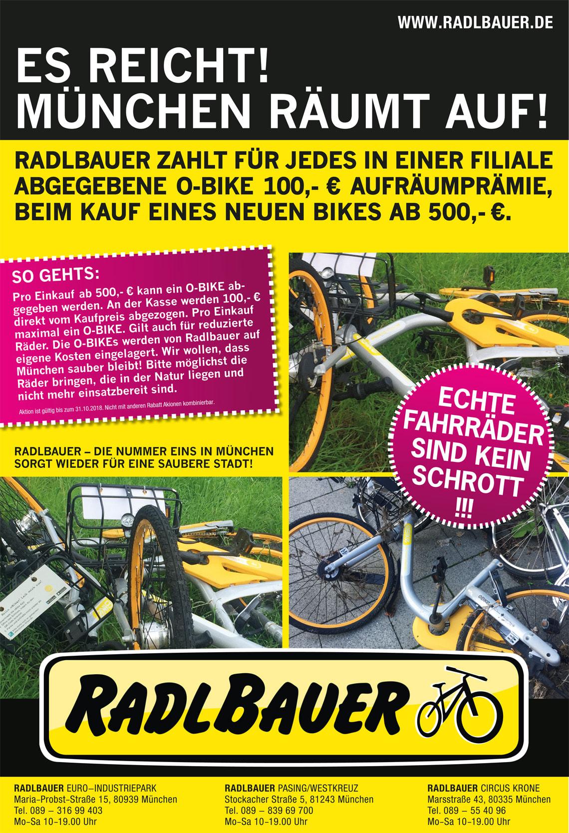 Aufräumprämie: RadlBauer München gibt 100 Euro Rabatt bei Abgabe eines oBikes