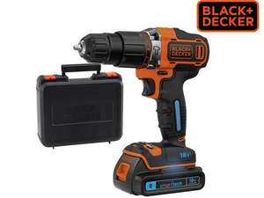 Akku-Schlagbohrschrauber Black & Decker BDCHD18KST (18V 1.5Ah 2-Gang Akkubohrer, smart tech-Akku mit Bluetooth, LED-Arbeitslicht, Sperrfunktion, Schnell-Ladegerät und Koffer)