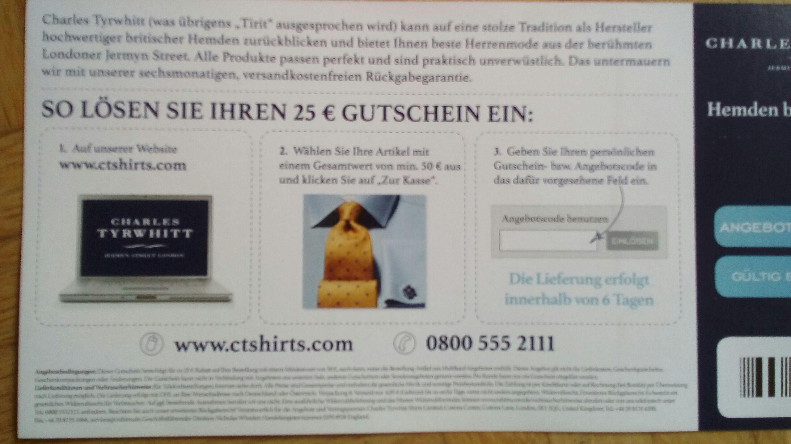 25€ Charles Tyrwhitt Gutschein