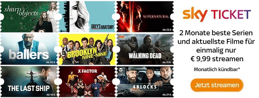 2 Monate Entertainment + Cinema für einmalig 9,99€ streamen + 5€ Cashback! [Neukunde sky Ticket]