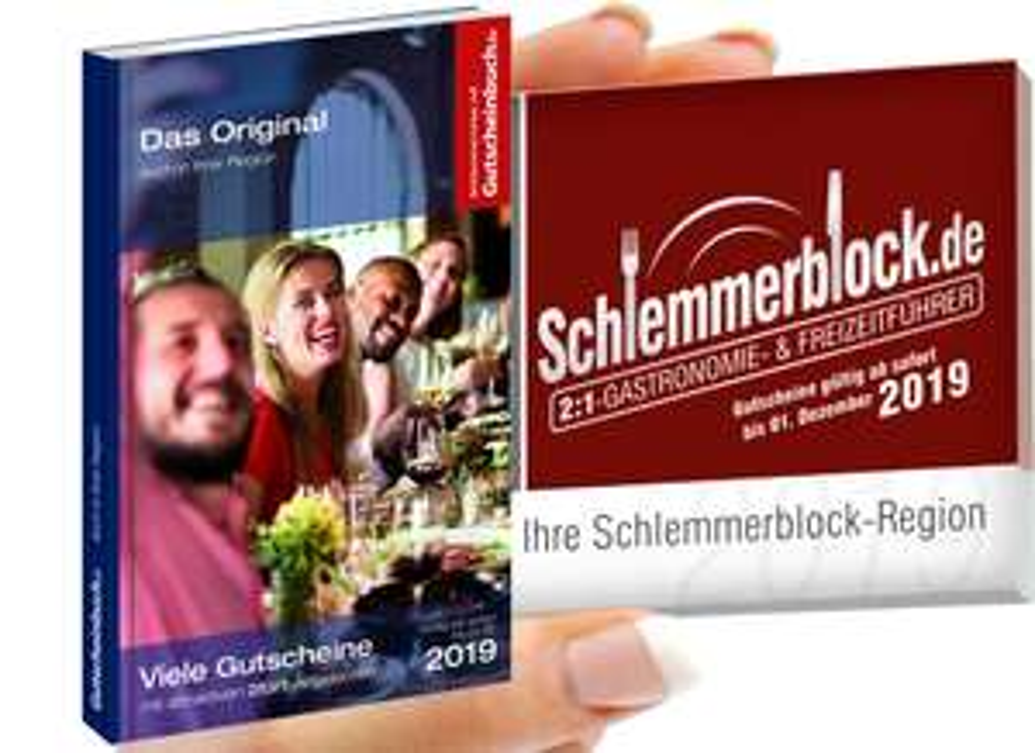 Schlemmerblock / Gutscheinbuch 2019 ab 12,46€ (bei Abnahme von 5 Stück) statt 34,90€
