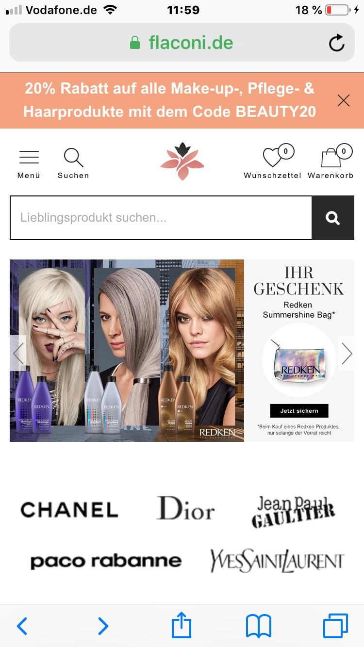20% auf Make-up,Haar und Pflegeprodukte bei Flaconi