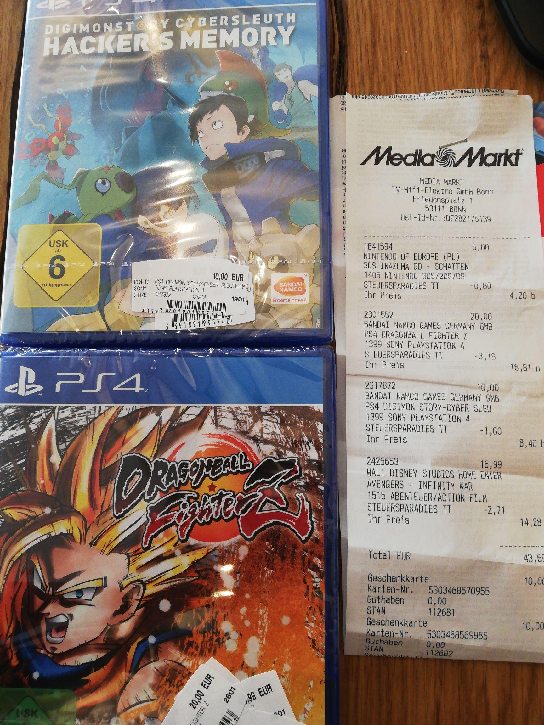[Media Markt Bonn] DragonBall FighterZ 16,81€ PS4 & Digimon Cyber Sleuth 8,40€ PS4