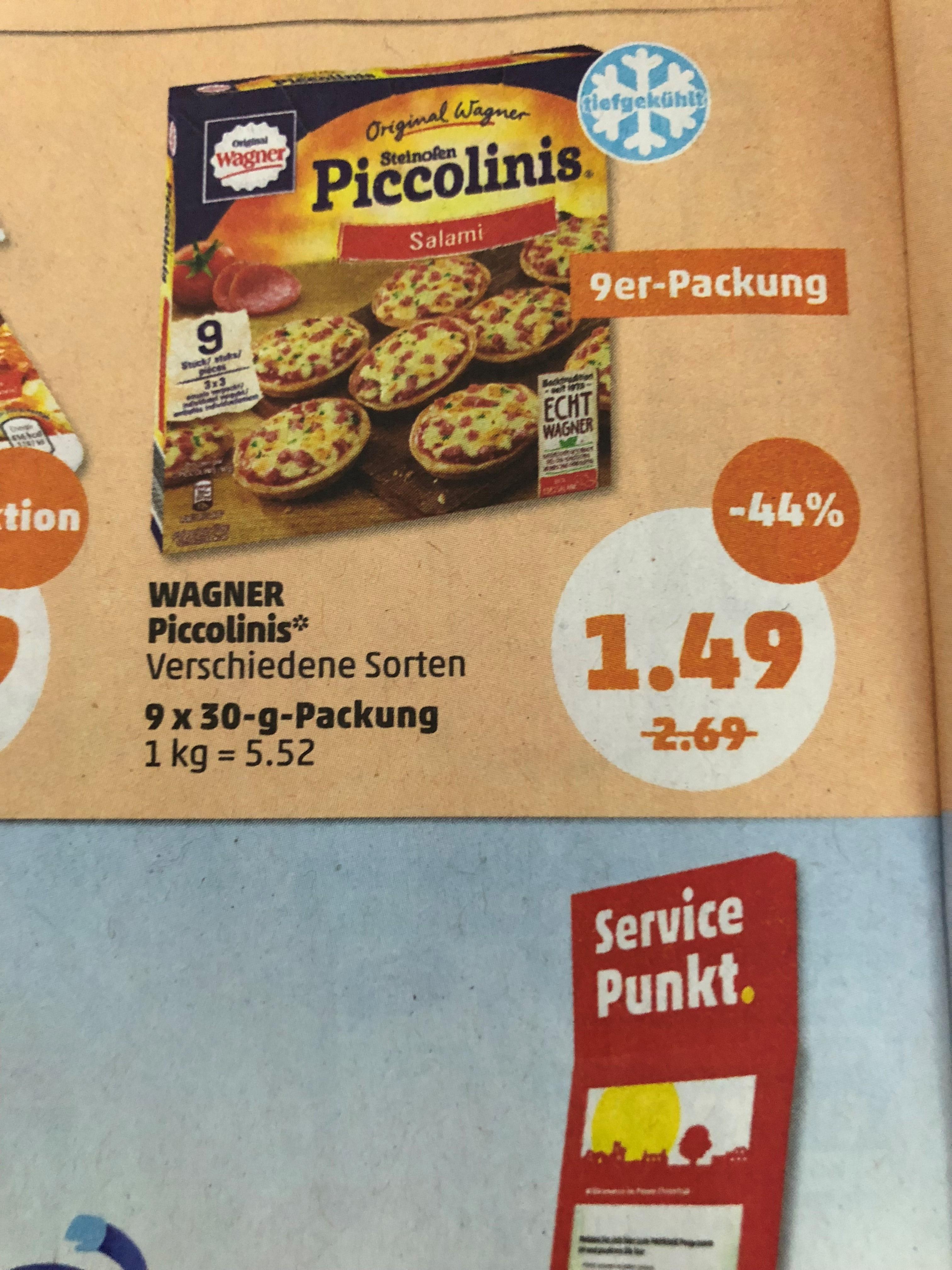 Original Wagner Piccolinis Verschiedene Sorten 1,49€ bei Penny FR + SA