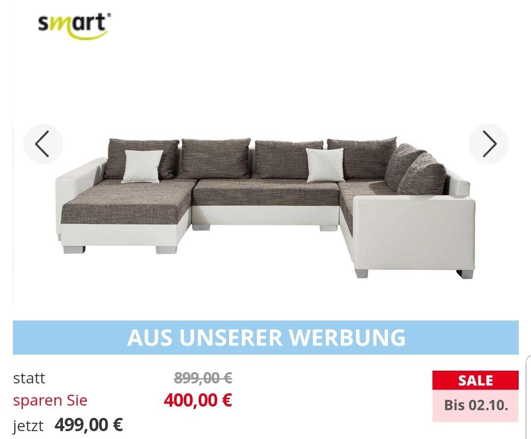 Wohnlandschaftweiß/grau - Kunstleder/Webstoff