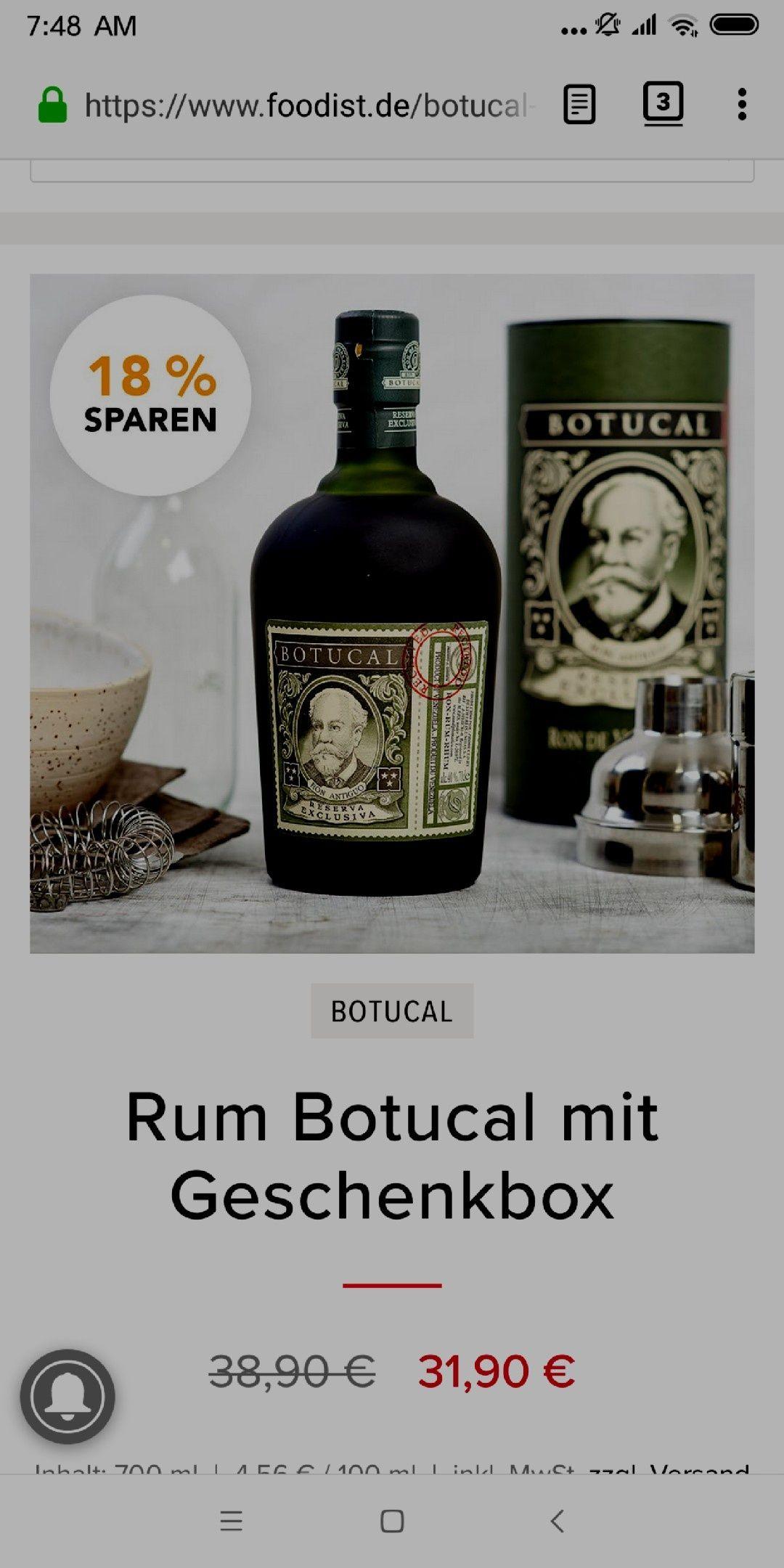 Rum Botucal mit Geschenkbox